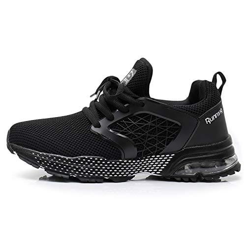 QAUPPE Womens Breathable Running Tennis Shoes Fashion Lightweight Air Sports Gym Jogging Walking Sneakers Black US 10 B(M)