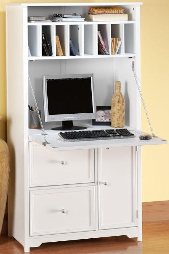 Home Decorators Collection Oxford Tall Secretary Desk, 1-DOOR/2-DRAWER, White