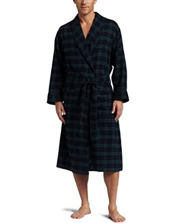 Nautica Mens Blackwatch Plaid Robe, Ponderosa Pine, L/XL