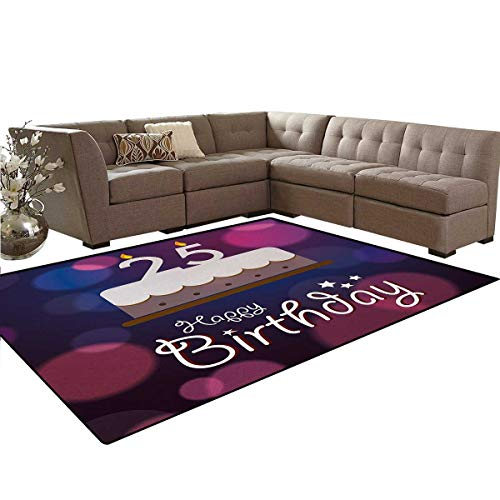 25th Birthday,Carpet,Out of Focus Background with Cute Graphic Cake and Candles Art Print,Living Dinning Room and Bedroom Rugs,Blue Pink White,6'x8'