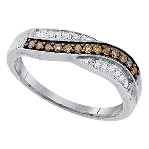 - Jewel Tie - Size 11 - Solid 10k White Gold Round Chocolate Brown Diamond Band Ring (1/4 Cttw.)