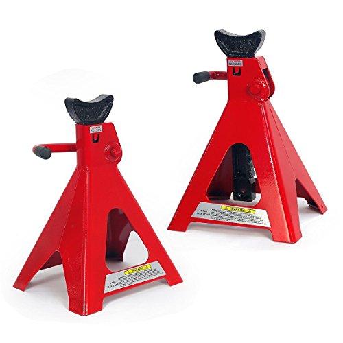 (KCHEX>6 Ton 12000 LB Capacity Heavy Duty Steel Powder Coated Jack Stand Lift Hoists>Self-Locking Ratchet)