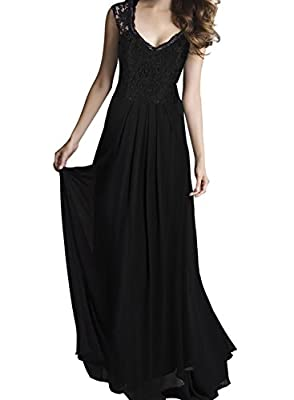 SYLVIEY Women's Vintage Lace V Neck Sleeveless Maxi Bridesmaid Evening Dress