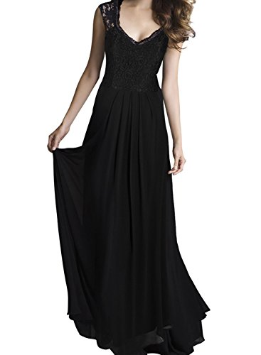 REMASIKO Women's Vintage Lace V Neck Sleeveless Maxi Bridesmaid Evening Dress