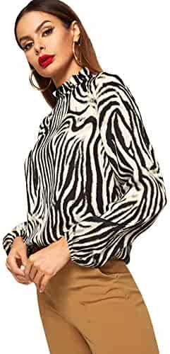 3076fc69 Romwe Women's Elegant Striped Stand Collar Workwear Blouse Top Shirts  Animal Print X-Small