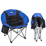 ENKEEO Camping Folding Chair Portable Moon Saucer Chair Support 330 LBS with Heavy Duty Steel Frame Comfortable Padded Round Seat for Outdoor, Picnic, Fishing, Backyard, and Indoors, Carry Bag Include