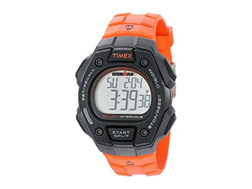 Timex Unisex TW5K86200 Ironman Classic 50-Lap Full-Size Black/Orange Resin Watch