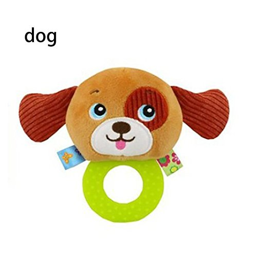 (Gbell Stuffed Wrist Rattles for Babies,Hand Bell Rings Interactive Cute Cartoon Animal Soft Plush Toys for Toddler Infant (G))