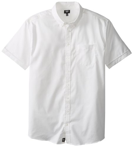Lee Uniforms Men's Short Sleeve Oxford Shirt, White, 4X