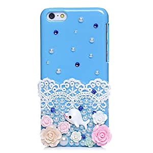 QYF Blue Ocean Dolphin Jewel Covered Cases for iPhone 5C