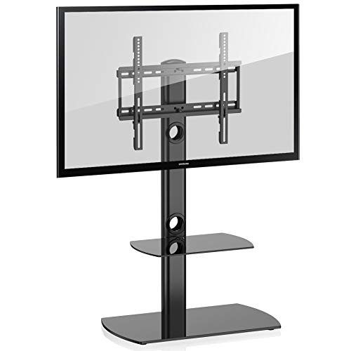 Fitueyes TT206501GB Swivel Floor Stand with Mount and Two Shelves for 32 to 50-Inch TV
