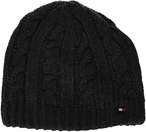 Tommy Hilfiger Men's Cold Weather Knit Beanie, Coal, One - Coal Beanie Cable Knit