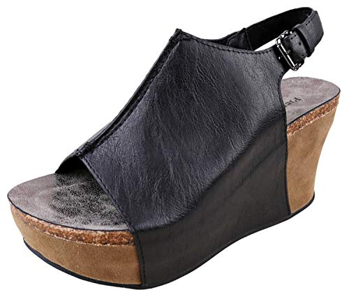 (Pierre Dumas Hester-14 Women's Platform Wedge Open Toe Sandals (9 B(M) US, Black))