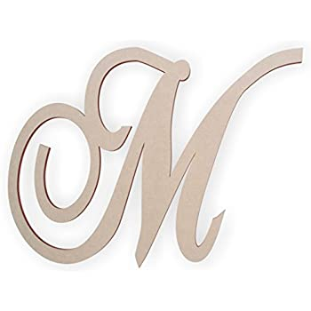 cursive wooden letter m for front door for above crib for nursery