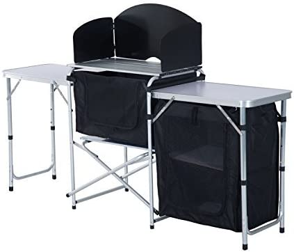 Outsunny Portable Fold-up Camp Kitchen with Windscreen, 6