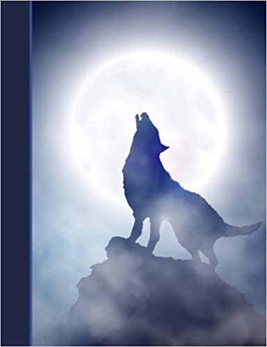 7.44 x 9.69 Wolf Howling at Moon College Ruled Lined Pages Book Composition Notebook