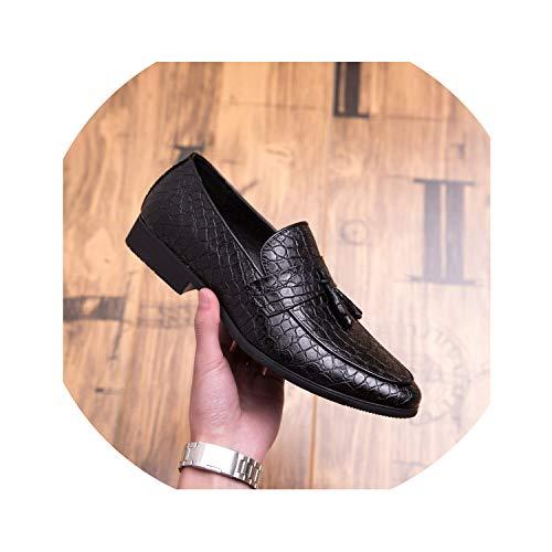 Genuine Leather Shoes Outdoor S Italian Tassel Loafers Moccasins Men Slip On Flats Shoes for Men,Black,7.5