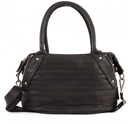FREDsBRUDER Damen Handtasche Leder Schwarz Honey 18-586-01-black