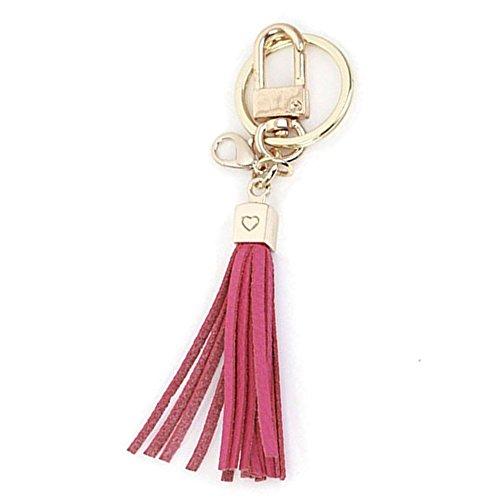 Womens's Leather Tassel Charm Women Handbag Wallet Accessories Key Rings (Hotpink-Small)