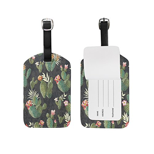 Use4 Retro Tropical Cactus Luggage Tags Travel ID Bag Tag for Suitcase 1 Piece ()