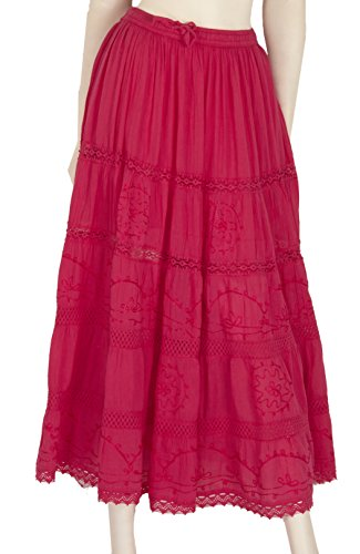 Indian Long Skirts with Solid Embroidered Design (LAD- #151) (Fuchsia)