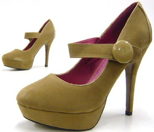 Pumps Damen-Schuhe | eleganter High-Heel mit hochwertigem Absatz | Schuh-City Fashion-Shoes | Stöckel-Schuhe in verschiedenen Größen | Peep-Toes | Plateau-Schuhe Mary-Janes mit Riemchen | beige 36