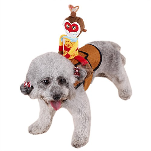 ChezAbbey Monkey King Riding Horse Pet Costume Adjustable Novelty Funny Pet Clothes X-Large ()