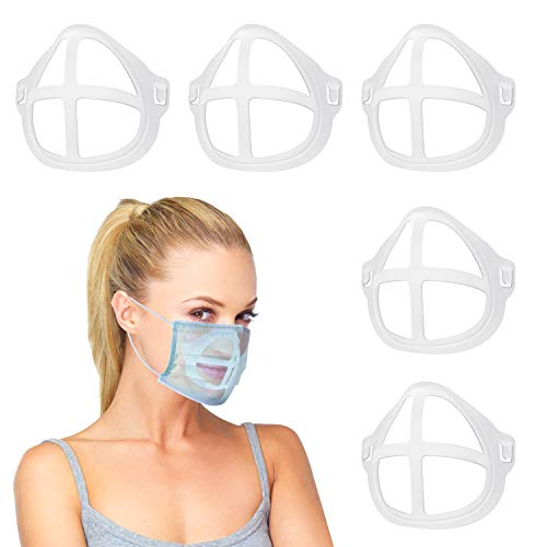 3D Bracket for Comfortable Mask Wearing ,Silicone Mask Inner Support Frame , Keep Fabric off Mouth to Create More Breathing Space , Reusable Washable Translucent,5 PCS