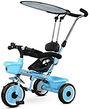 JINHH Triciclo, Cochecito para Niños De 1-5 Años Versátil ChildrenChild Cesta 57x50x100cm Portátil Rueda De Bicicleta De La Familia