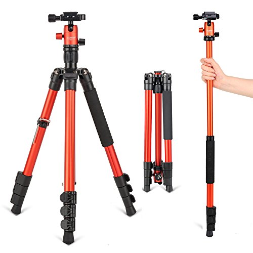 Travel Tripod, ZOMEI 64'' Lightweight Aluminum Alloy Camera Tripod Monopod with Ball Head Quick Release Plate for DSLR Canon, Nikon, Samsung, Phone, Camcorder, Projector(Orange) by ZoMei