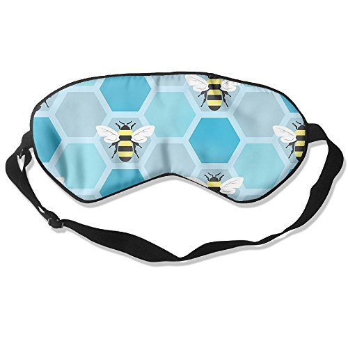 WUGOU Sleep Eye Mask Bumblebee Hexagon Hive Lightweight Soft Blindfold Adjustable Head Strap Eyeshade Travel Eyepatch