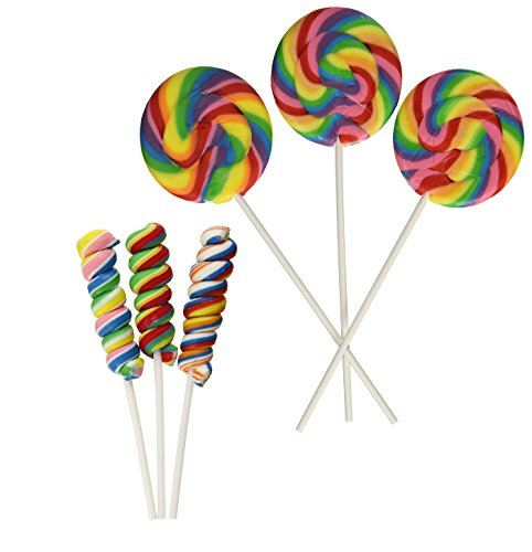 Fun Express 24 Total Suckers | 12 Twisty Rainbow Candy Lollipops 3 1/3 inch in Assorted Fruit Flavors and 12 Swirl Lollipops, Large, 2 3/4-Inch Suckers, Cherry Flavor