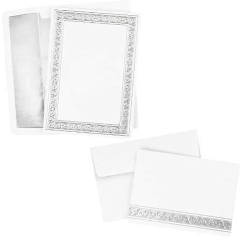 Hortense B. Hewitt 11707 Silver Filigree Foil Invitation Kit, 5.5 x 7.75-Inch, White