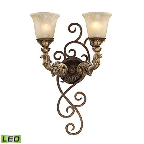 Alumbrada Collection Regency 2 Light LED Wall Sconce In Burnt Bronze And Gold Leaf (Gold Burnt Leaf Sconce)