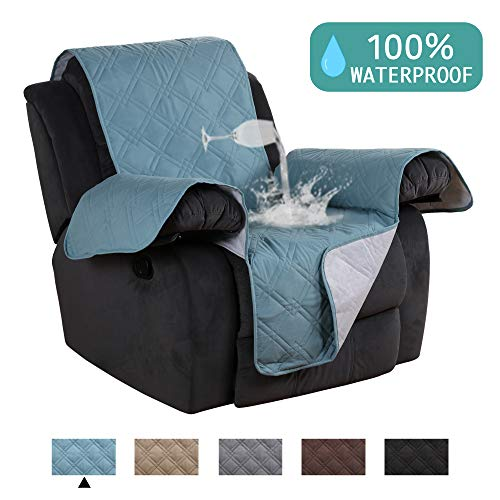 - Waterproof Recliner Chair Covers for Leather Recliner Cover Pets Friendly Quilted Sofa Cover Premium Cotton Like Pet Furniture Covers Stay In Place Furniture Covers for Recliner Gray - 79
