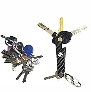 Smart Compact Key Holder made-of carbon fiber Solves Your Pocket Holes & Discomfort Fits all type of keys Up To 18 Tools Comes With Bottle Opener Carabiner Ring For Car Fobs Including Expansion Screws