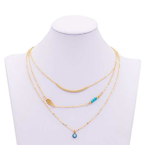Zealmer Multilayer Layering Necklace Turquoise