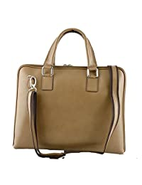 Genuine Leather Woman Briefcase Color Light Taupe