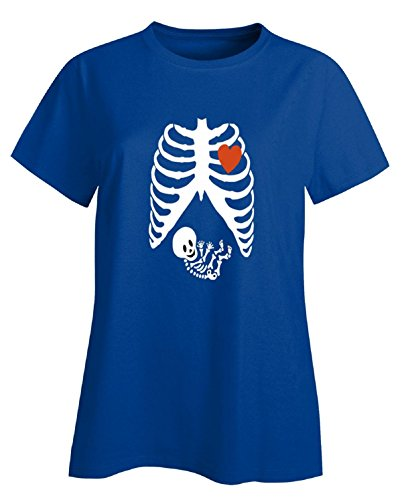 [Pregnant Halloween Maternity Scary Skeleton Costumes - Ladies T Shirt] (Cheap Maternity Halloween Costumes)