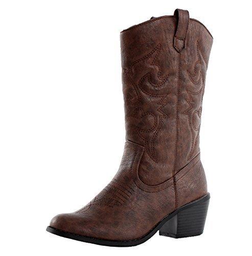 West Blvd Miami Cowboy Western Boots, Brown Pu, 11 -