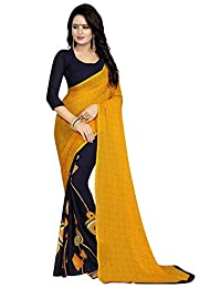 Peegli Saree Women Ethnic Saree Yellow Georgette Printed Sari with Blouse Piece