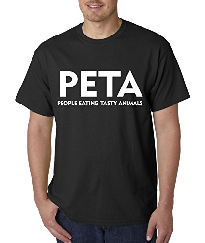 (Trendy USA 608 - Unisex T-Shirt PETA People Eating Tasty Animals Parody Large Black)