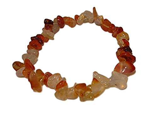 (1pc Natural Healing Crystal Carnelian Chip Gemstone 7 Inch Stretch Bracelet)