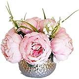 Amazon pink vases home dcor home kitchen sweet home deco silk peony arrangement in silver ceramic vase table flower home decor wedding centerpiece mightylinksfo