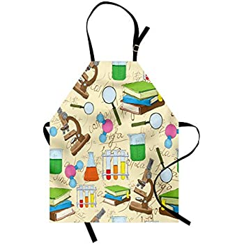 Lunarable School Apron, Science Education Lab Sketch Books Equation Loupe Microscope Molecule Flask Print, Unisex Kitchen Bib Apron with Adjustable Neck for Cooking Baking Gardening, Multicolor