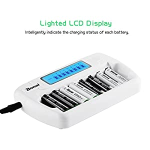 Bonai 8 Bay Smart LCD Battery Charger for AA AAA NiMH NiCD Rechargeable Batteries with AC Wall Adapter