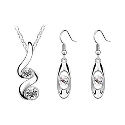 Luxury Necklace,Han Shi Princess Bridesmaid Romantic Wedding Jewelry Set chian Earrings (White, L) (Lariat Set Earrings)