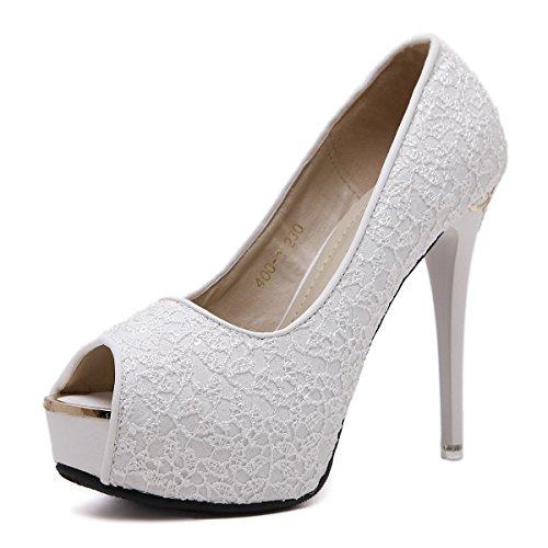 multa Mujer boca encaje tacón de zapatos black moda tacón de la de de alto los zapatos de coreana la de ZHZNVX de en zapatos tacón alto primavera con de pescado versión HdxwnFdqC1
