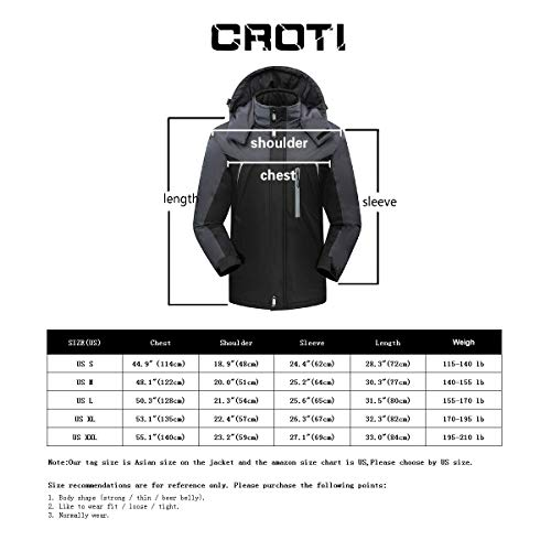 ad117c7579 CROTI Men s Ski Jackets Waterproof Windproof Fleece Jackets Mountain Hooded  Jackets Outdoors Winter