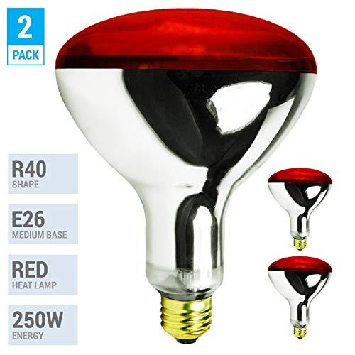 (Pack of 2) K21761 250R40/HR 250 Watt, Incandescent R40 Reflector, Red Head Lamp, Heat Flood Lamp Light Bulb, E26 Standard Medium Screw Base, 120V, 6,000 Hour Rated